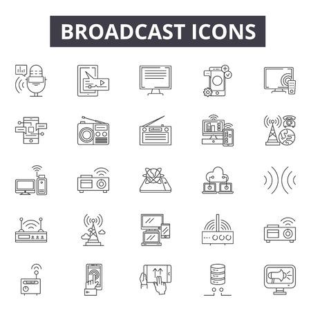 Icone della linea di trasmissione, set di segni, vettore. Illustrazione del concetto di struttura di trasmissione: antenna, comunicazione, tecnologia, internet, radio, trasmissione, connessione
