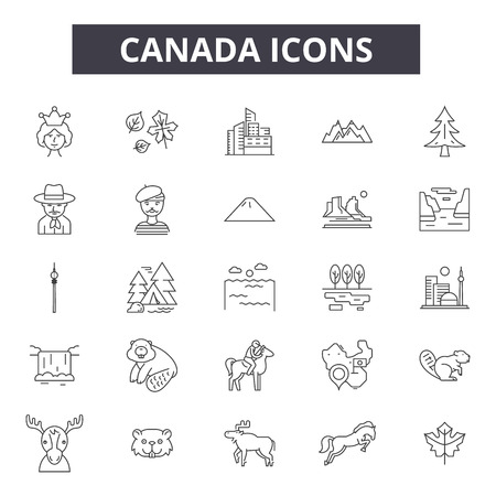 Canada line icons, signs set, vector. Canada outline concept illustration: canada,maple,flag,isolated,canadian,leaf