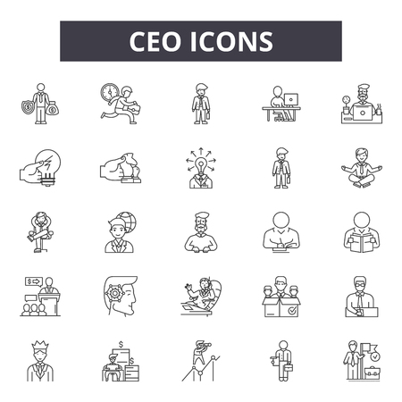 Ceo line icons, signs set, vector. Ceo outline concept illustration: ceo,business,people,manager,team,office,person,leader