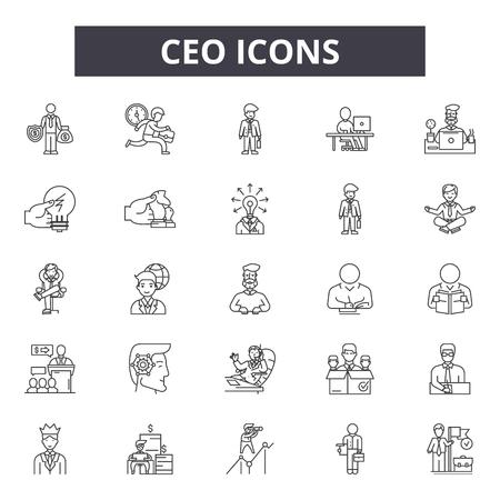 Icônes de ligne de PDG, ensemble de signes, vecteur. Illustration de concept de contour de PDG : PDG, entreprise, personnes, gestionnaire, équipe, bureau, personne, leader