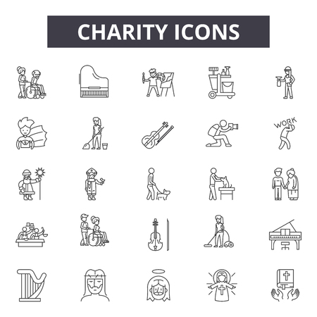 Charity line icons, signs set, vector. Charity outline concept illustration: charity,heart,love,care,support,hand,volunteer