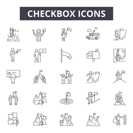 Checkbox line icons, signs set, vector. Checkbox outline concept illustration: checkbox,tick,check,yes,mark,correct,choice Stock Illustratie