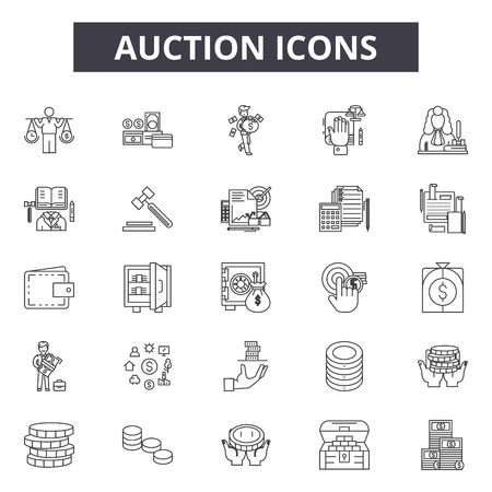 Auction line icons, signs set, vector. Auction outline concept illustration: auction,hammer,business,money,gavel  イラスト・ベクター素材
