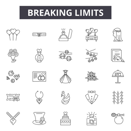 Breaking limits line icons, signs set, vector. Breaking limits outline concept illustration: business,concept,breaking,growth,success Illustration