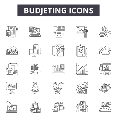 Budjeting line icons, signs set, vector. Budjeting outline concept illustration: budget,business,finance,bank,money,cash,coin,currency