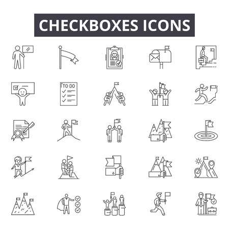 Checkboxes line icons, signs set, vector. Checkboxes outline concept illustration: checkbox,tick,check,yes,mark,correct,choice
