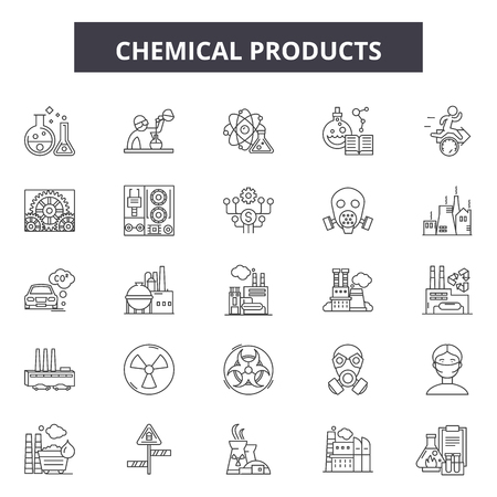 Chemicals products line icons, signs set, vector. Chemicals products outline concept illustration: chemical,bottle,product,clean,spray,hygiene,plastic