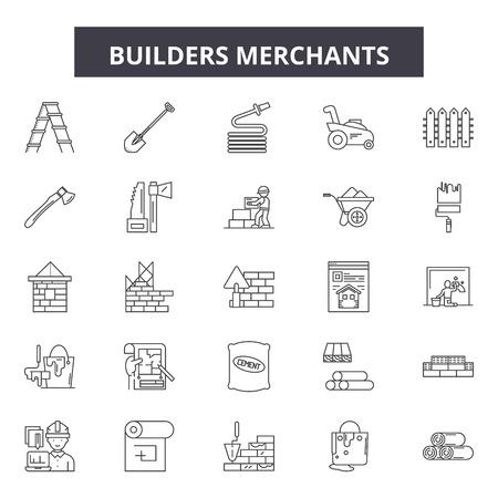 Builders merchants line icons, signs set, vector. Builders merchants outline concept illustration: merchant,builder,elements,work,trader,professor,seller,worker,teacher