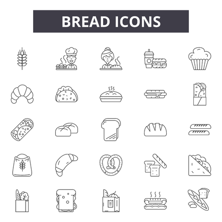 Bread line icons, signs set, vector. Bread outline concept illustration: bread,food,bakery,toast,loaf,isolated,wheat  イラスト・ベクター素材