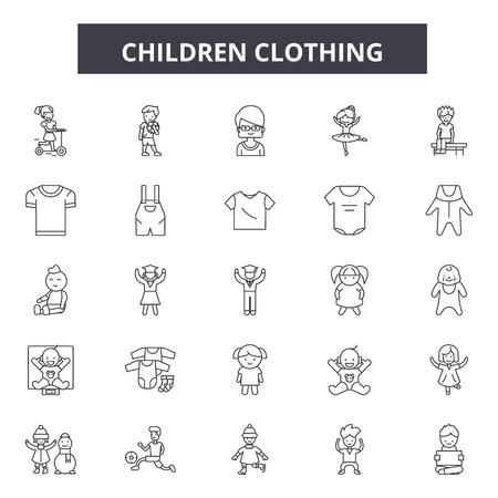 Children clothing line icons, signs set, vector. Children clothing outline concept illustration: baby,clothes,dress,fashion,clothing,child,set Illustration