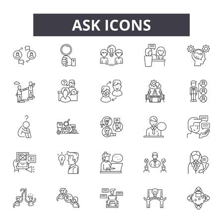 Fragen Sie Liniensymbole, Zeichensatz, Vektor. Umrisskonzeptillustration fragen: Hilfe, Fragen, FAQ, Wohnung, Frage