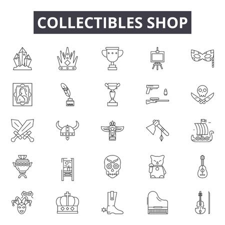 Colección de iconos de línea de tienda, signos, vector. Ilustración de concepto de esquema de tienda de coleccionables: tienda, tienda, deold, negocios, vintage, plano Ilustración de vector