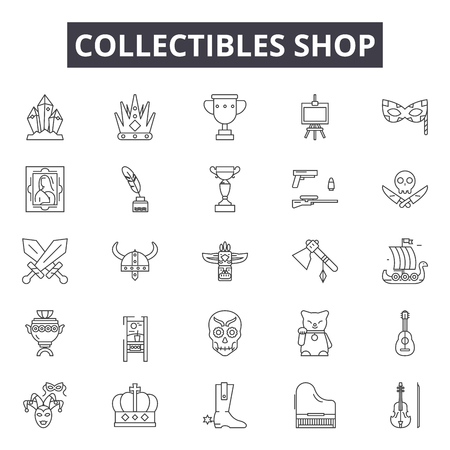 Collectibles shop line icons, signs set, vector. Collectibles shop outline concept illustration: shop,store,deold,business,vintage,flat Stock Illustratie