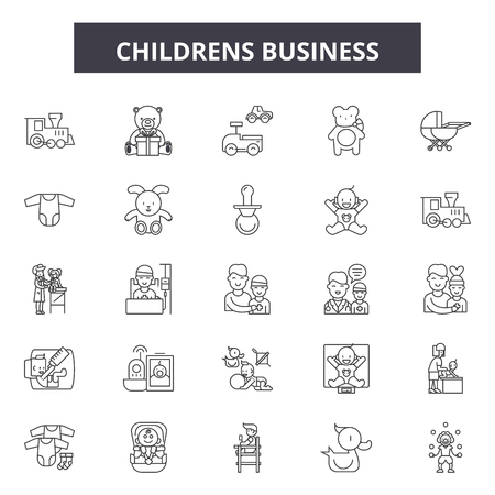 Childrens line icons, signs set, vector. Childrens outline concept illustration: child,deflat,boy,isolated