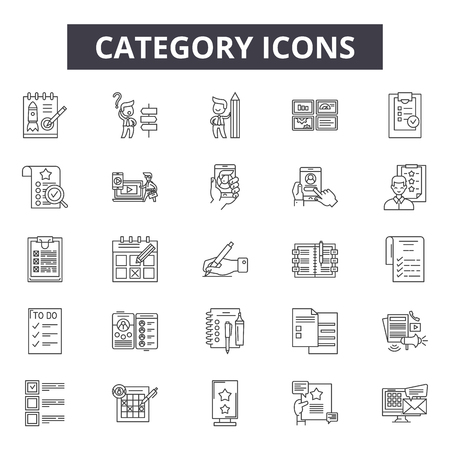 Category line icons, signs set, vector. Category outline concept illustration: collection,category,web,interface,media Ilustração