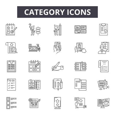 Icônes de ligne de catégorie, ensemble de signes, vecteur. Illustration de concept de contour de catégorie : collection, catégorie, web, interface, média Vecteurs