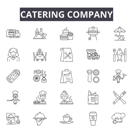 Catering company line icons, signs set, vector. Catering company outline concept illustration: food,catering,derestaurant,company,dinner