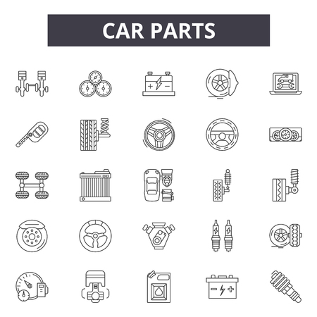 Car parts line icons, signs set, vector. Car parts outline concept illustration: auto,car,oil,engine,repair,wheel,service,battery