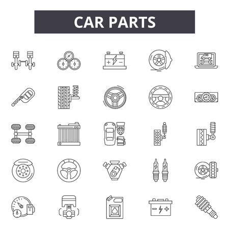 Car parts line icons, signs set, vector. Car parts outline concept illustration: auto,car,oil,engine,repair,wheel,service,battery