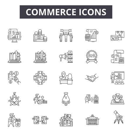 Commerce line icons, signs set, vector. Commerce outline concept illustration: e-commerce,cart,store,delivery,money,basket,business