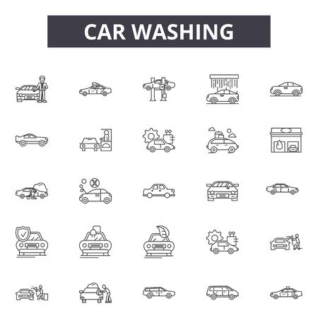Car washing line icons, signs set, vector. Car washing outline concept illustration: car,wash,service,auto,shower,clean,automobile