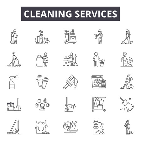 Cleaning services line icons, signs set, vector. Cleaning services outline concept illustration: house,service,spray,mop,cleaner,sponge,bucket