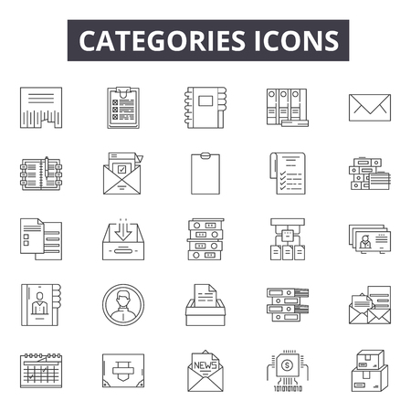 Categories line icons, signs set, vector. Categories outline concept illustration: collection,category,web,interface,media Ilustração