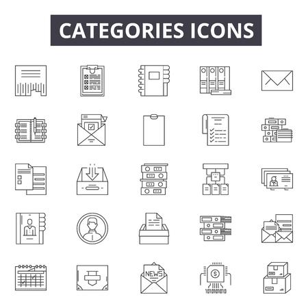 Icônes de ligne de catégories, ensemble de signes, vecteur. Les catégories décrivent l'illustration du concept : collection, catégorie, web, interface, média