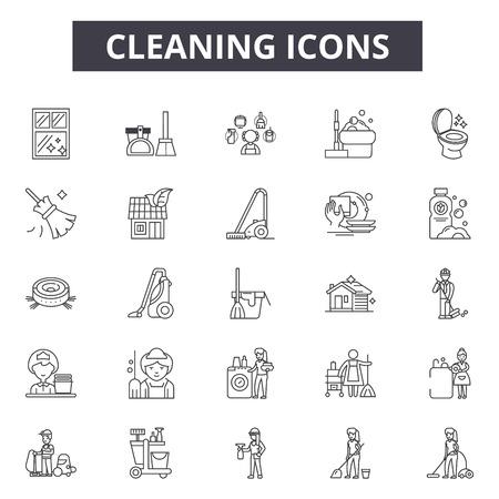 Icônes de ligne de nettoyage, ensemble de signes, vecteur. Illustration de concept de contour de nettoyage : éponge, aérosol, vadrouille, nettoyant, balai, aspirateur, maison Vecteurs