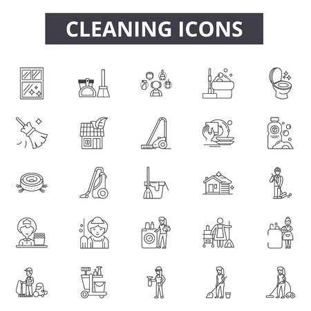 Cleaning line icons, signs set, vector. Cleaning outline concept illustration: sponge,spray,mop,cleaner,broom,vacuum,house