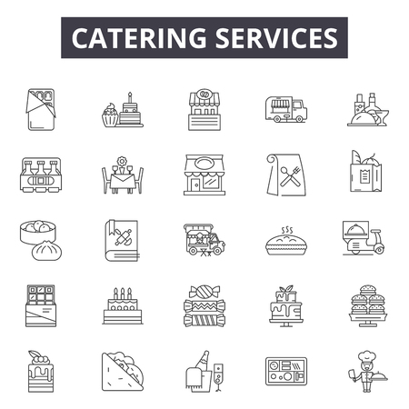 Catering services line icons, signs set, vector. Catering services outline concept illustration: catering,service,restaurant,dinner,food,lunch,menu Illustration