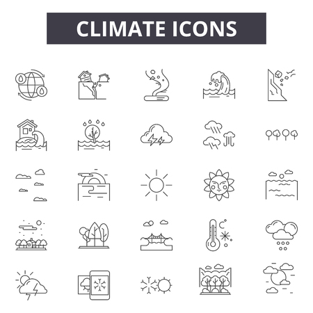 Climate line icons, signs set, vector. Climate outline concept illustration: climate,weather,cold,web,wind,nature,rain Çizim