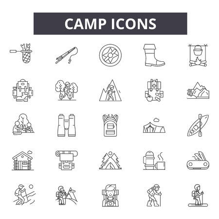Camp line icons, signs set, vector. Camp outline concept illustration: camp,backpack,tent,mountain,outdoor,compass