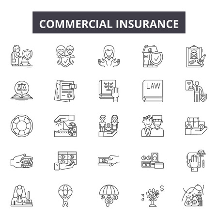 Commercial insurance line icons, signs set, vector. Commercial insurance outline concept illustration: insurance,business,commercial,property,protection,vehicle Vectores