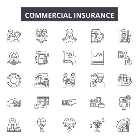 Icônes de ligne d'assurance commerciale, ensemble de signes, vecteur. Illustration du concept de contour d'assurance commerciale : assurance, entreprise, commercial, propriété, protection, véhicule