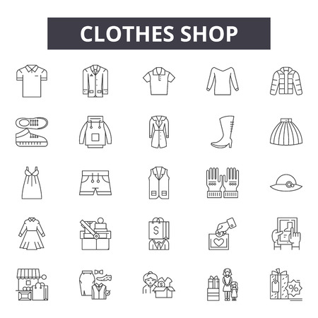 Clothes shop line icons, signs set, vector. Clothes shop outline concept illustration: business,sale,gift,bag,cart