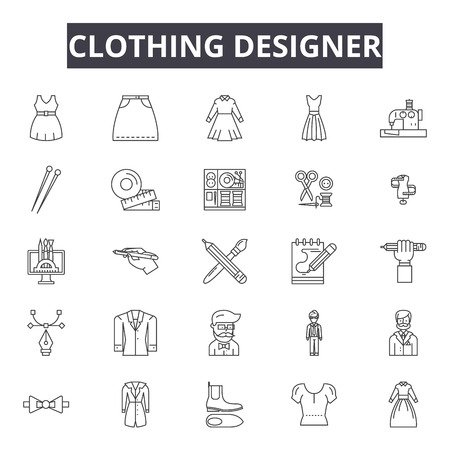 Clothing designer line icons, signs set, vector. Clothing designer outline concept illustration: fashion,designer,isolated,tailor,clothing,dress,decloth,symbol