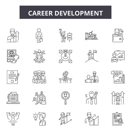 Career development line icons, signs set, vector. Career development outline concept illustration: career,business,development,leadership,growth,person,success,professional