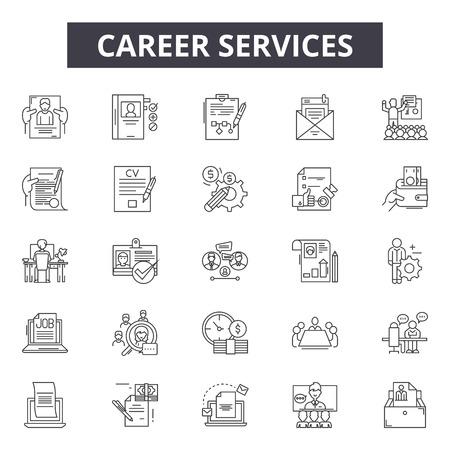 Carrière lijn pictogrammen, borden set, vector. Carrière schets concept illustratie: bedrijf, carrière, manager, zakenman, baan, persoon, mensen