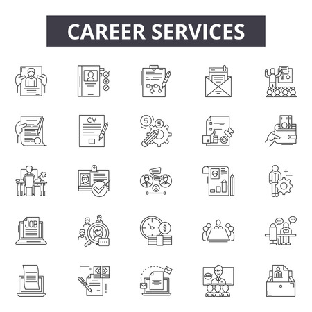 Career line icons, signs set, vector. Career outline concept illustration: business,career,manager,businessman,job,person,people