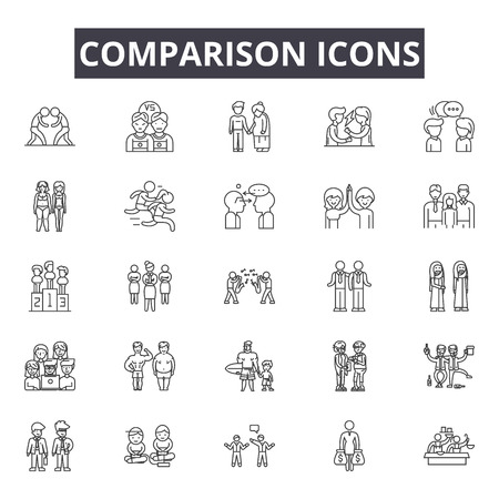 Comparison line icons, signs set, vector. Comparison outline concept illustration: comparison,compare,isolated,scale,balance