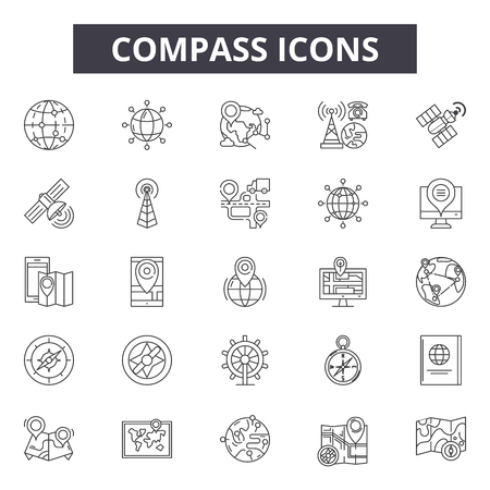 Compass line icons, signs set, vector. Compass outline concept illustration: compass,map,north,east,south,travel,navigation