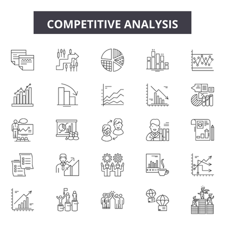 Competitive analysis line icons, signs set, vector. Competitive analysis outline concept illustration: analysis,strategy,business,solution,marketing,success,competition,management,target