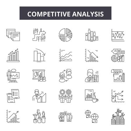 Icone della linea di analisi competitiva, set di segni, vettore. Illustrazione del concetto di profilo di analisi competitiva: analisi, strategia, affari, soluzione, marketing, successo, concorrenza, gestione, obiettivo Vettoriali