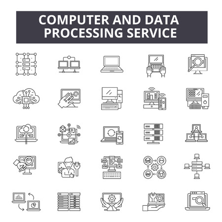 Computer and data processing service line icons, signs set, vector. Computer and data processing service outline concept illustration: data,computer,technology,internet,service,web,information,network Illustration