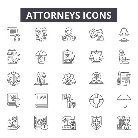 Adwokaci linii ikony, zestaw znaków, wektor. Adwokaci zarys ilustracja koncepcja: prawo, adwokat, sąd, prawnik, sprawiedliwość, sędzia, prawo, przestępstwo
