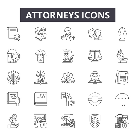 Attorneys line icons, signs set, vector. Attorneys outline concept illustration: law,attorney,court,lawyer,justice,judge,legal,crime Ilustracja