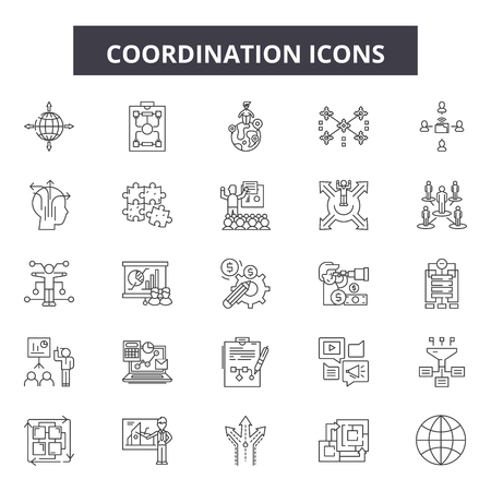 Coordination line icons, signs set, vector. Coordination outline concept illustration: business,coordinate,human,management,people,experience,resource