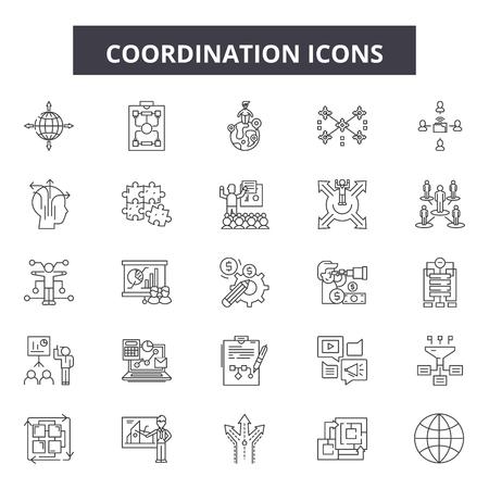 Iconos de línea de coordinación, conjunto de signos, vector. Ilustración del concepto de esquema de coordinación: negocios, coordinar, humanos, gestión, personas, experiencia, recursos