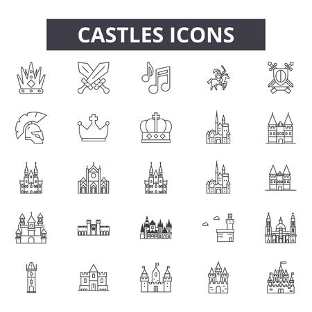 Castles line icons, signs set, vector. Castles outline concept illustration: castle,tower,building,fort,architecture,fortress,medieval